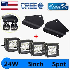4X 3inch 24W LED Cube Pods Light+10-14 Ford F150 SVT Raptor Mounting Bracket Kit