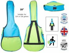 2 Colour Green Light Blue padded Classical Acoustic Guitar Bag