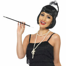 20's Gatsby Flapper SET with Wig Necklace Headpiece and Cigarette Holder