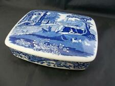 Spode Blue Italian Rectangular Trinket Box with Curved Lid                 s1327
