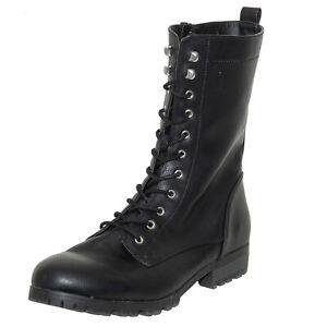 Brash Black Lace Up Block Heel Side Zip Boots Faux Leather Women's size 13