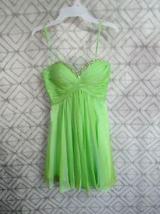 La Femme Formal Dress Size 4 Green Strapless/Straps Open Back Party Cocktail