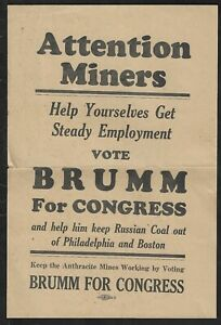 """1928 Brumm for Congress """"Attention Miners"""" Keep Out Russian Coal Campaign Flier"""