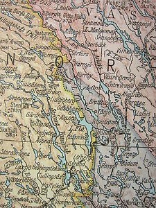 1919 LARGE MAP ~ NORWAY & SWEDEN NORTH ~ FINMARK INSET MINERALS