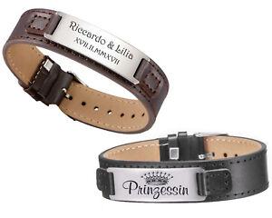 ID Leder Armband mit Edelstahlplatte schwarz oder braun mit Gravur nach Wunsch