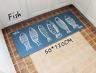Blue long rectangle,handpaint style fish,carpet yoga door/floor mat,rug,50x120cm