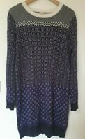 Hobbs Nw3 Angora Blend Retro Print Jumper Dress Size 10