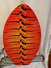 Vintage Surf Skimmer Boogie Skimboard Psychedelic Wall Art Orange Yellow Black