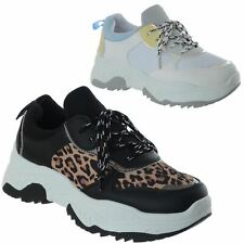 New Womens Chunky Platform Lace Up Trainers Ladies Shoes Running Gym Sports Size