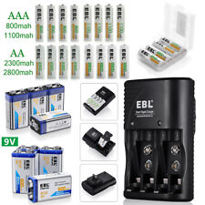EBL AA AAA 9V Rechargeable Batteries Lot / AA AAA 9V Ni-MH Ni-CD Wall Charger US