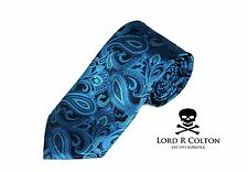 Lord R Colton Studio Tie Black Turquoise Paisley Tapestry Woven Necktie $95 New