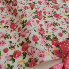 """per metre Cottage rose white & pink polycotton fabric width 44"""""""