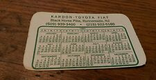 1981 Calendar Card Kardon Toyota Fiat Black Horse Pike Runnemede New Jersey NJ