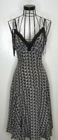 Stunning TED BAKER Grey Black 100% Silk A Line Floaty Strappy Dress 1 UK 8