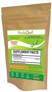 PURE Bamboo Extract Powder 70% Organic Silica Skin, Hair, Gums & Nails Health