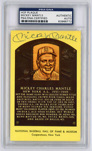 Mickey Mantle Signed HOF PSA / DNA Certified Authentic Yellow Plaque Postcard