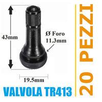 20 Valvole TR413 per pneumatici tubeless auto e moto (Corte) cerchi lega e ferro