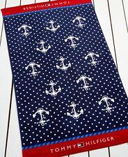 NWT Tommy Hilfiger Anchor Beach Pool Towel Cabana Blue 35 x 66 100% Cotton NEW