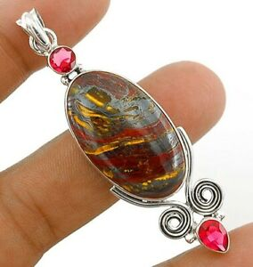 8g Natural Tiger Iron Jasper 925 Solid Sterling Silver Pendant Jewelry CT3-4