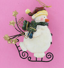 Ice Skating Snowman Ornament with Stars