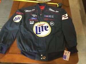 Vintage NASCAR Rusty Wallace Miller Lite RacingJACKET USA made new/tag XXL Blue