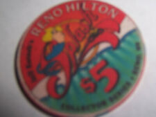 HILTON CASINO CHIPS SPLASH $5 CHIP RENO NEVADA COLLECTORS SERIES FREE S $ H