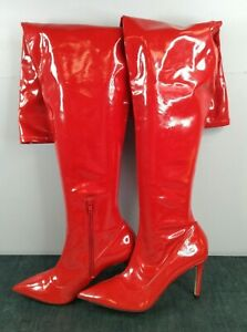 Women's Scarlet Red Kinky Boots Style High Heel Knee High Boots UK Size 6 - 6.5