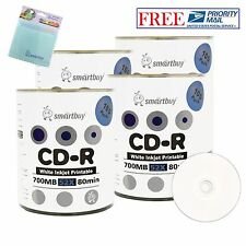 400 Pcs Smartbuy 52X CD-R White Inkjet Hub Printable Disc+FREE Micro Fiber Cloth