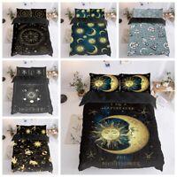 3D Golden Sun Moon Galaxy Duvet Cover Bedding Set Comforter Cover Pillowcase