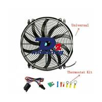 """16"""" 12V Pull Push Curved Radiator Electric Thermo Fan+Mounting+Thermostat kits"""
