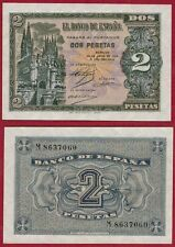 ESPAÑA. PAREJA PLANCHA 2 PESETAS 1938. Serie M. 8637060-37061. Catedral Burgos.