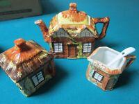 PRICE England TEA SET TEAPOT SUGAR CREAMER HOUSE VILLAGE SHAPED
