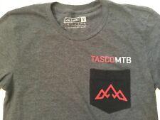 TASCO MTB Cycling Logo Pocket T-Shirt Small Heather Charcoal Mountain Bike