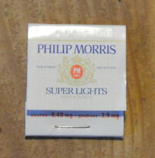 Pochette d'allumettes complète Philip Morris super lights, années 1970-1980