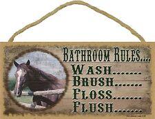 "Western Horse Bathroom Rules Brush Wash Flush Floss Sign Plaque Bath Decor 5X10"""
