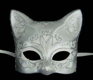 Masque de Venise Chat blanc argenté florale Artisanat de Luxe Peint à la main 31