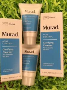 2x MURAD Acne Control Clarifying Cleanser .5oz Each, Travel Size - NEW in Box!