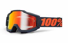 100% MASCHERINA OCCHIALE ACCURI GUN METAL NERO OPACO MOTO CROSS ENDURO GOGGLE