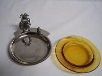Vintage Golf  Metal Dish Amber Glass Trinket Desktop Keys Ashtray Felt Base EUC