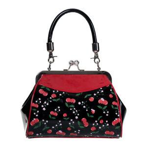 Banned Cherry Print Retro 1960s 60s Rockabilly Pinup Womens Evening Handbag Bag