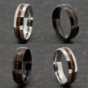 6mm Stainless Steel Black Silver Men Women Wedding Band Wood Effect Ring M to Z1