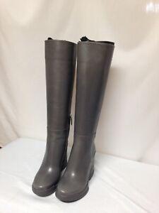 Prada Rubber Wedge Heel Knee High Boot  Mercuric (Grey)   NIB 100% Authentic