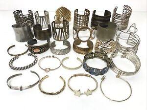 Lot Of 28 Metal Cuff Bracelets Metallic Gold Tone Silver Tone Bronze Tone