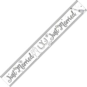 Just Married Mr and Mrs Party Foil Banner Bunting Decorations Banners Partyware