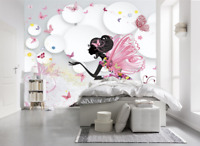 3D Pink Elf Butterfly Girl's Room Wall Murals Wallpaper Painting Photo Decor
