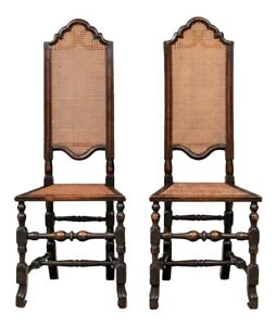 A Fine Pair of 19th Century William & Mary Walnut And Cane High Back Hall Chairs
