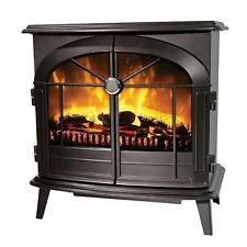 Dimplex LECKFORD Electric Flame Effect Stove in Matt Black 2kw Fire Fireplace