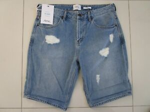 Riders R3 Relaxed Fit Straight Brooklyn Blue Distress Non Stretch Shorts Size:32