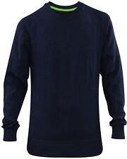 Mens Plain Sweatshirt Jumper Ribbed Pullover Work Casual Sweater Leisure Top Navy M
