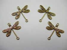 Antiqued brass Dragonfly Victorian Connectors Drops Earring Findings 4